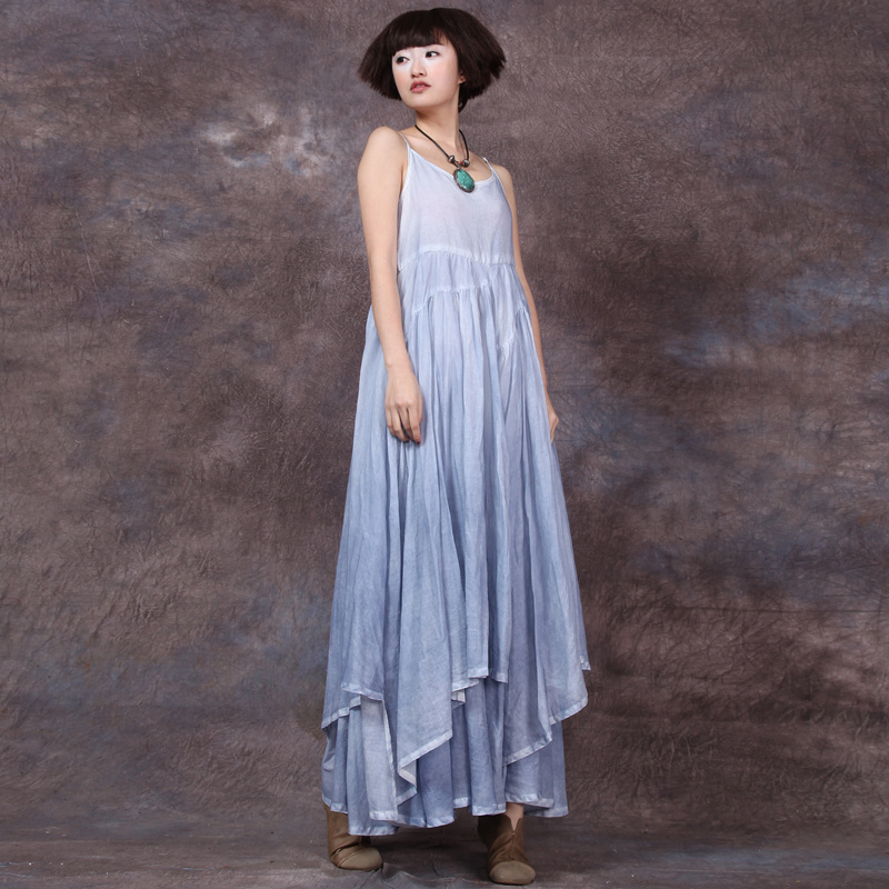 Johnature Pure Cotton Women Solid Color Strap Dresses 2019 Summer New Vintage Loose Patchwork Sleeveless Irregularity