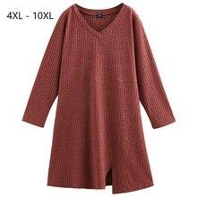 Плюс размер 10XL 8XL 6XL 4XL,Российские размеры 66, 62, 58, 54 женское осеннее трикотажное платье пуловер с v образным вырезом, пуловер полной длины для женщин, платье миди