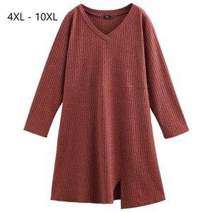 Image 1 - Плюс размер 10XL 8XL 6XL 4XL,Российские размеры 66, 62, 58, 54 женское осеннее трикотажное платье пуловер с v образным вырезом, пуловер полной длины для женщин, платье миди