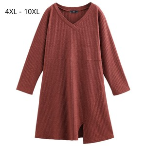 Image 1 - Plus Size 10XL 8XL 6XL 4XL Women Autumn Knitted Pullover Dress V neck Full Length Pullover For Women Midi Dress
