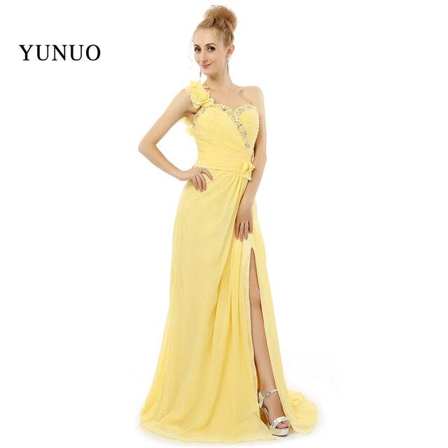Gelb Einfache Elegante ein schulter Lange Abendkleid Aufgeschlitzt ...