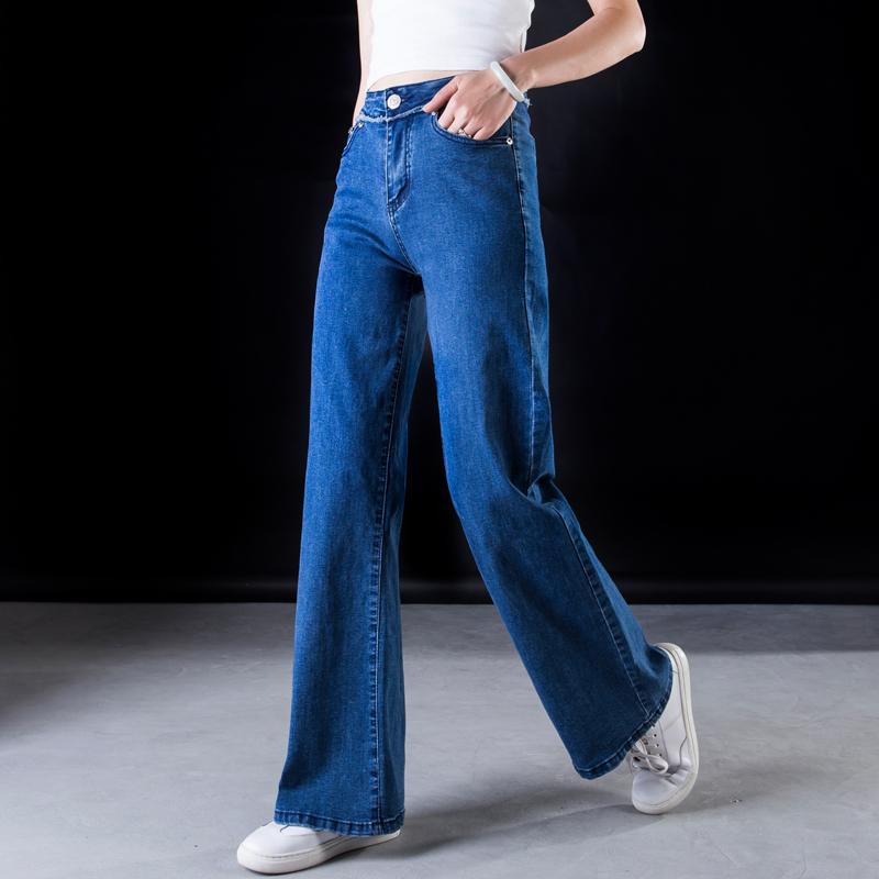 ACRMRAC Women jeans New Spring and autumn High waist blue Stitching Slim Loose Large size Full Length Wide leg pants jeans Women 1