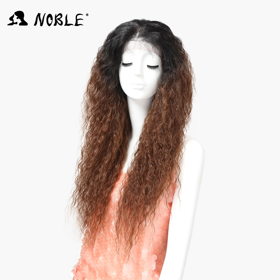 Nobel Synthetic Lace Front Wig With Baby Hair Ombre Brown Afro Kinky Curly Wigs For Black Women 30inch Free Shipping