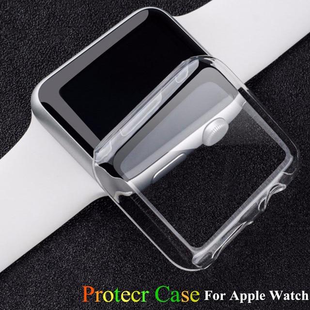Мягкий силиконовый ремешок для Apple Watch чехол 42 мм 38 мм PC Рамка защитный прозрачный чехол для iwatch 3 2 1 Чехлы аксессуары