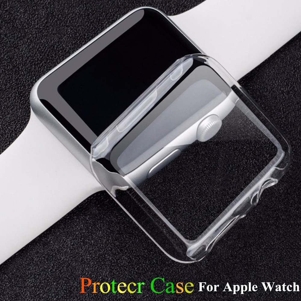 Soft Silicone band for Apple Watch Case 42mm 38mm PC Frame Protective Transparent cover for iwatch 3 2 1 Cases Accessories protective abs frame case for iphone 5 transparent black