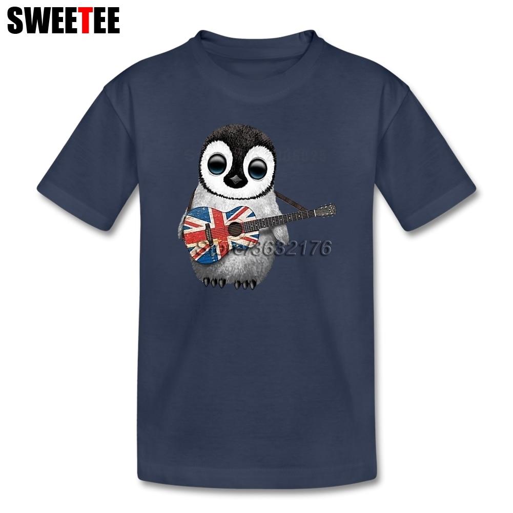 Bayi Pinguin Bermain Bendera Inggris Gitar Gadis Kaus Katun Murni Lengan Pendek O Leher Kostum Pria Kaus Klub untuk Anak Gadis-Internasional