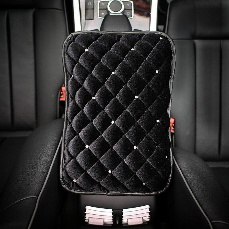 Winter Diamond Car Armrest Pad Cover for Armrests Center Console Crystal Plush Car Armrest Cushion For Women Universal Size