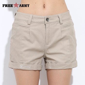 FreeArmy Brand Women's Shorts Summer Two Designs Female Casual Cotton Shorts Women Plain Denim Shorts Embroidery Short Lady 2