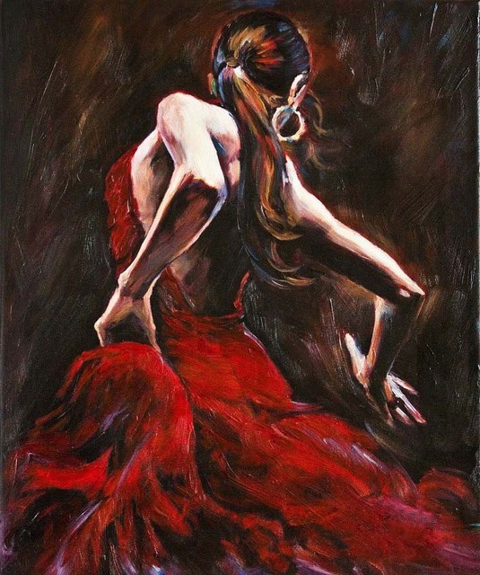 Handmade Decorative Abstract Figure Oil Painting on Canvas for Living Room Bedroom Wall Spanish Flamenco Dancer in Red Dress
