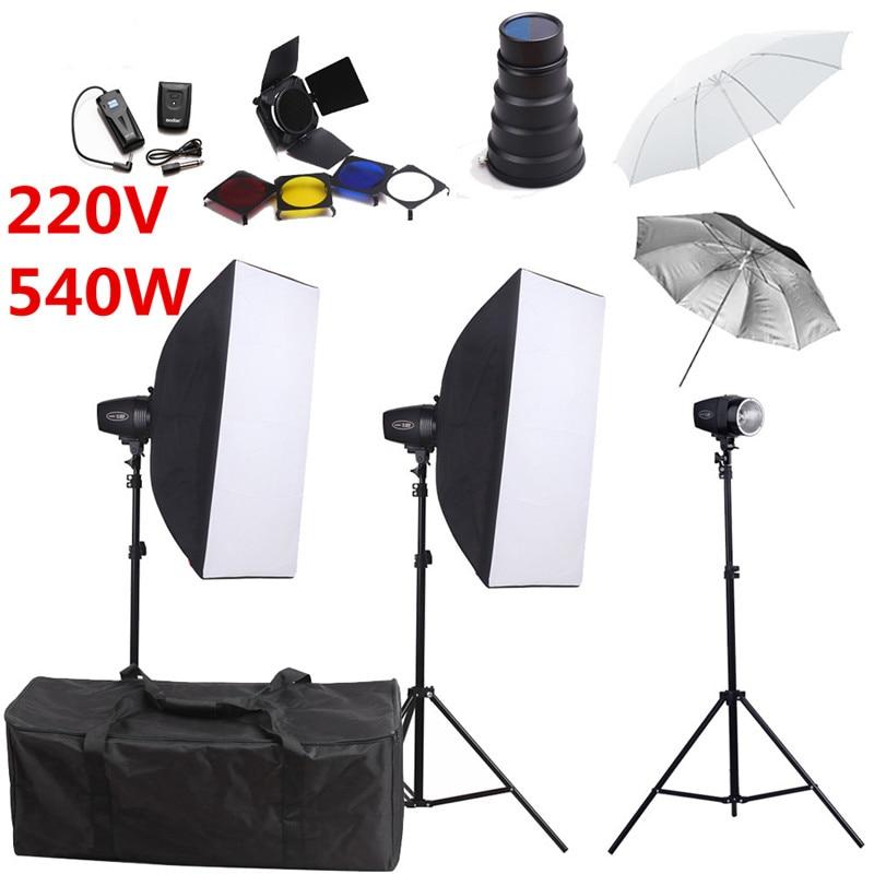 bilder für Fotografie Studio Flash Beleuchtung Kits 540ws 220 V Godox Storbe Licht + Softbox + Snoot Torblende + Ständer + Regenschirm + Trigger Empfänger Set