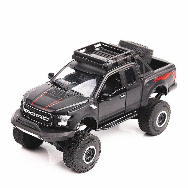 1:32 Ford Raptor Sound and light belt pull-back vehicle simulation alloy car model crafts decoration collection toy tools