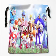 New Sonic printed storage bag 27x35cm Satin drawstring bags Compression Type Bags Customize your image gifts