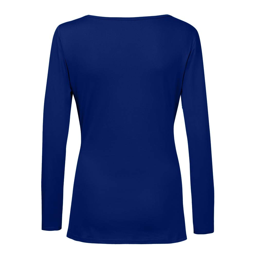 Youngh Womens Blouses Plus Size Pleated Slim Long Sleeve V Neck Solid Casual Tops Blouse Shirts