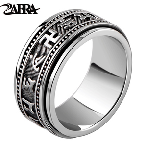 Image 1 - ZABRA Real 925 Sterling Silver Spinner Ring Vintage Six Words Mantra Mens Signet Rings Punk Jewelry For Men