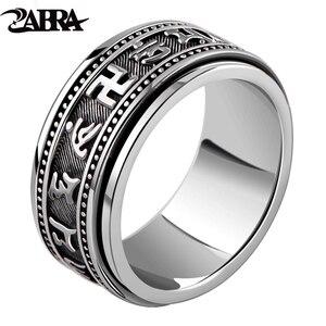 Image 1 - Zabra Echt 925 Sterling Zilveren Spinner Ring Vintage Zes Woorden Mantra Mens Zegelringen Punk Sieraden Voor Mannen