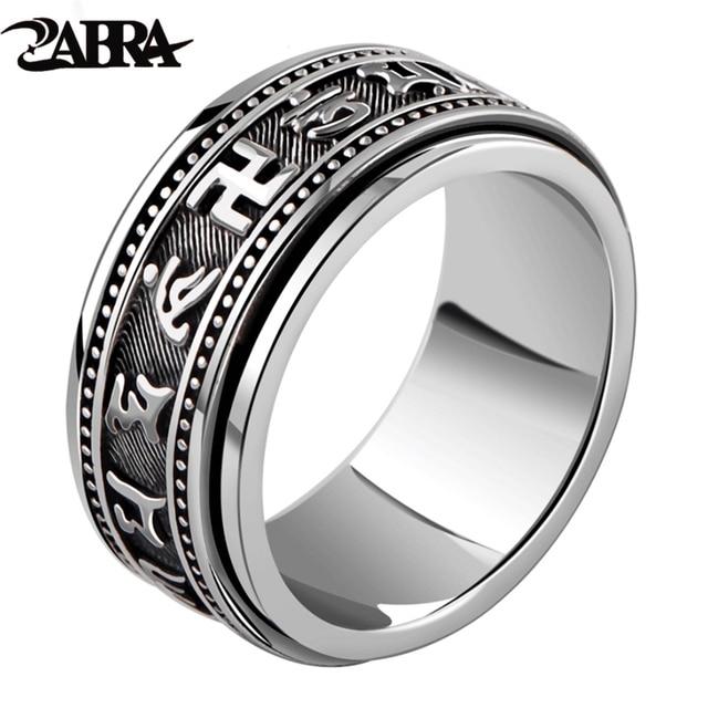 Zabra Echt 925 Sterling Zilveren Spinner Ring Vintage Zes Woorden Mantra Mens Zegelringen Punk Sieraden Voor Mannen