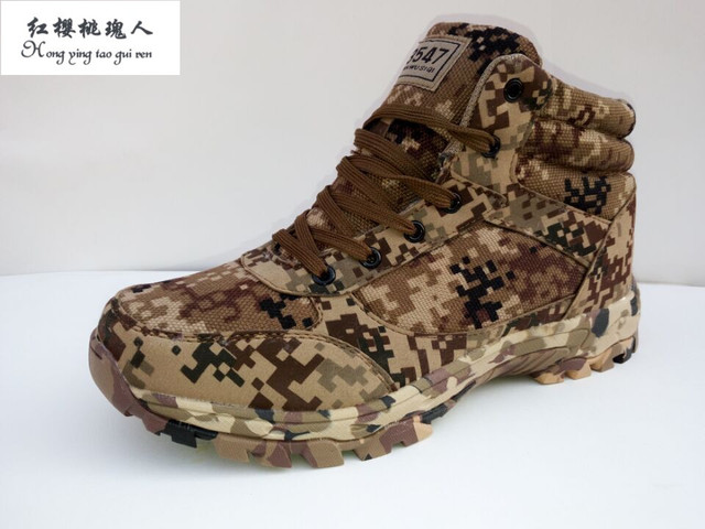 Esdy Winter Camouflage Tactical Military Combat Men Boots Outdoor Wearable Warm Cotton Shoes Climbing Army Men Boots Size 37-45