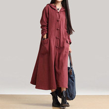 b9b1d42245 Plus Size Loose Hooded Maxi Dress Women Vintage Long Sleeve Cotton Linen  Winter Dresses Female Boho
