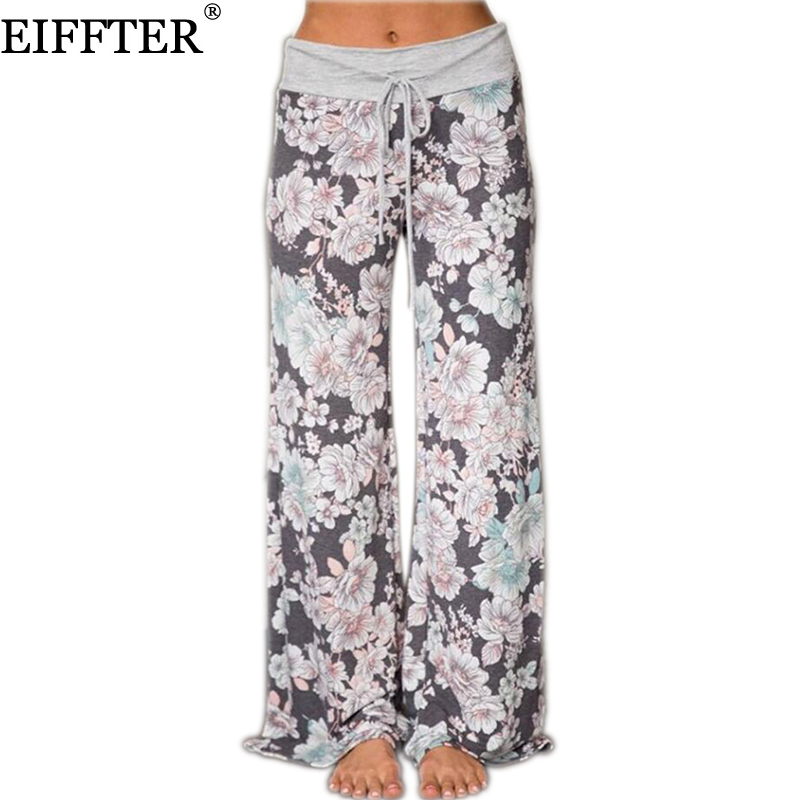EIFFTER Women Loose Wide Leg Long Pant Floral Print Casual High Waist Palazzo Leggings Trouser Pajama Pants At Home 0630