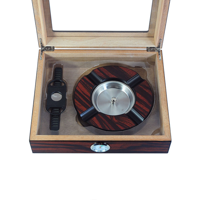 Luxury Wooden Cigar Humidor Box Storage Case Humidifier Hygrometer