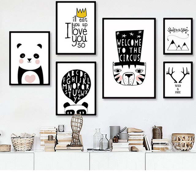 Modern black white nordic kawaii animal quotes art print poster wall picture nursery canvas painting no