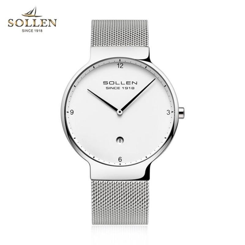 SOLLEN часы в простом стиле для мужчин и женщин ультра тонкий сетчатый ремень кварцевые часы модные черные белые наручные часы, кварцевые часы подарки