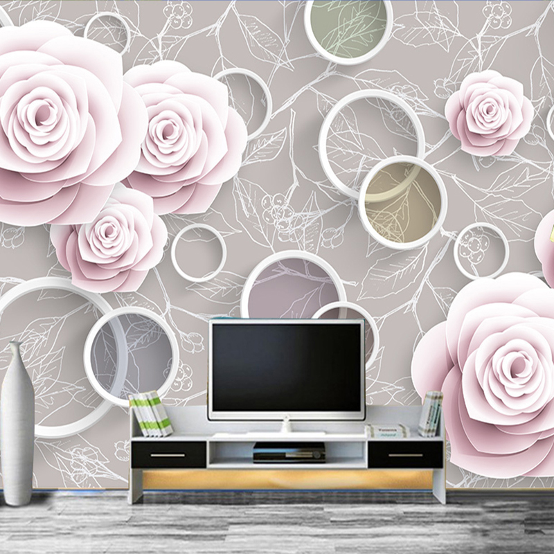 Custom 3D Modern Photo Wallpapers Non woven Embossed Wallpaper for Living Room Bedroom Romantic Flowers Decor 3d Wall Covering modern non woven floral wallpaper flower 3d embossed texture for bedroom living room tv sofa background wall decor covering