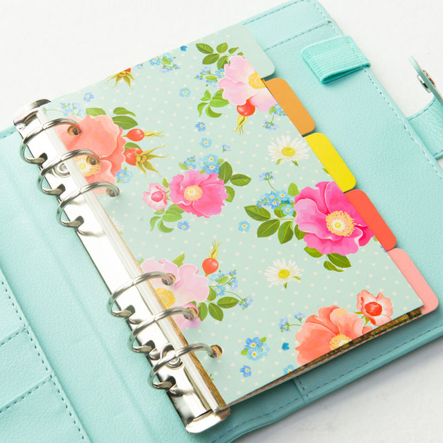 Candy color homemade inner core of notebook Flower pattern Binder Index Dividers paper for planner/diary 5sheets