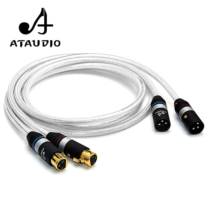ATAUDIO Hifi XLR Cable High Quality Silver and Copper 2 XLR Male to Female Audio Cable