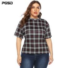 PGSD Summer casual lady Tee big size Lattice printing Loose short sleeves Half Turtleneck t-shirt femme Plus women clothes 4XL