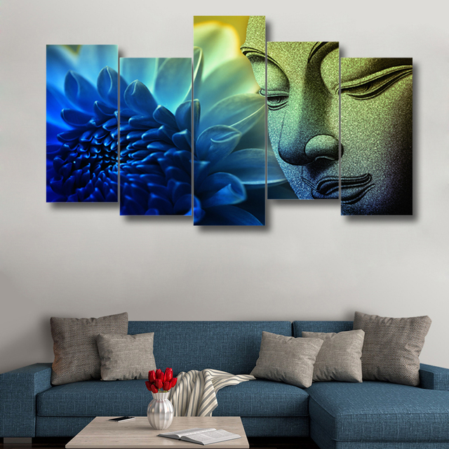 5 pieces hd printed buddha flower amazing painting canvas 5 panels