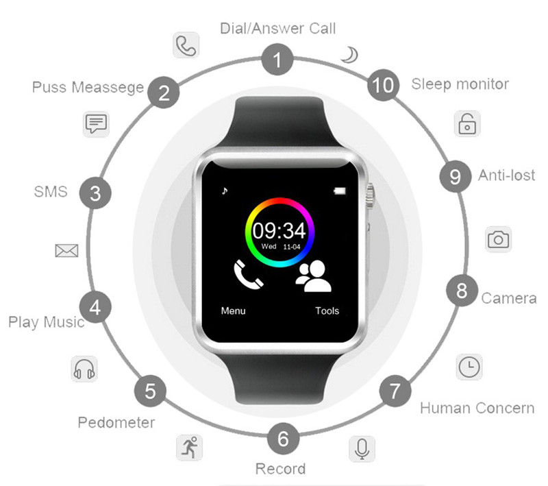 Main features of the a1 smart watch apple i-watch