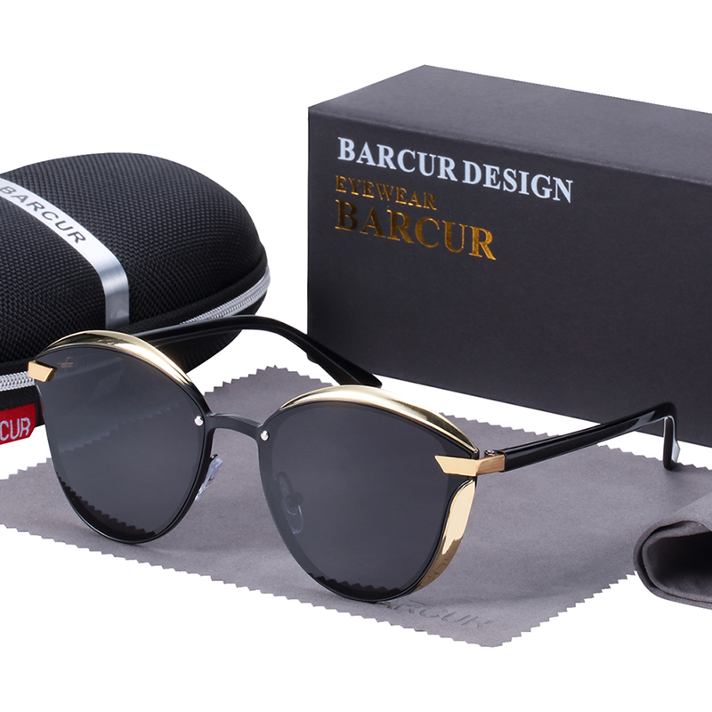 BARCUR Luxury Polarized Sunglasses Women Round