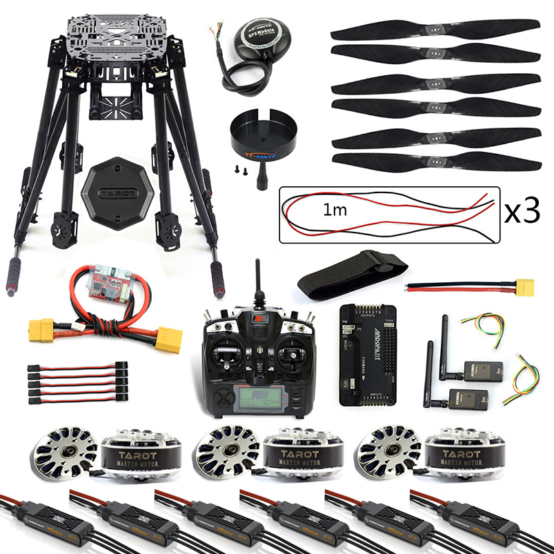 DIY 6-axis Drone RC Hexcopter ZD850 Carbon fiber Frame APM 2.8 Flight Control 3DRMHz Telemetry TH9X TX with Brushless Motor ESC
