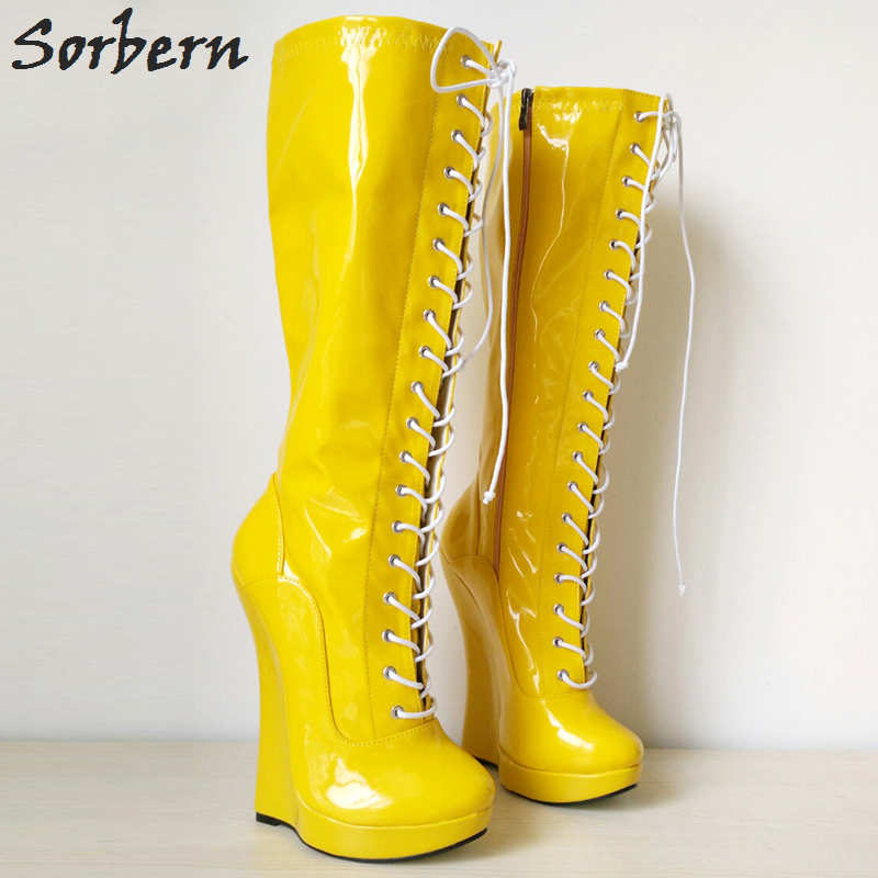 Sorbern Mid-Calf Women Boots Fashion Unisex Wedges 18CM Lace Up Plus Size Zipper Side Real Image Platform Patent Leather Custom double buckle cross straps mid calf boots