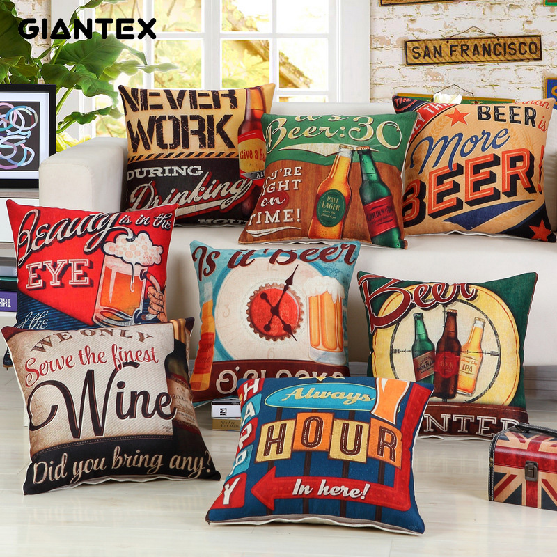 GIANTEX Beer Pattern Linen Cushion Cover Decorative Pillowcase Home Decor Sofa Throw Pillow Cover 45x45cm U1496
