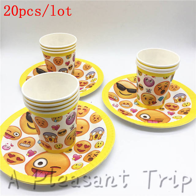 20pcs Lot Disposable Party Supplies Cartoon Emoji Themed Cutlery Set Smiling Face Birthday Paper Cup And Saucer