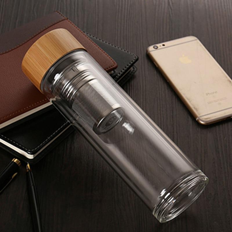 Tea Bottle Glass Bottled Water Bottle Infuser With Filter Strainer Borosilica Double Wall Drink Bamboo Lid 450ml Car DrinkwareWater Bottles   -