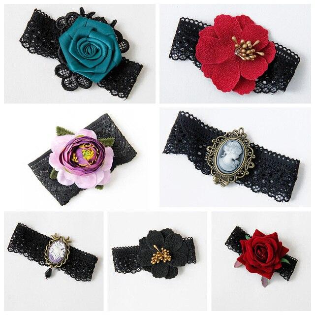Womens Elastic Bracelet Boho Flower Black Lace Gothic Dance Party Arm Band  Lady Armlet Armband Bangle 1629fce197d1