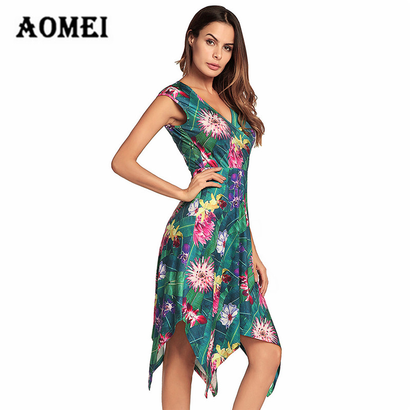 Anniversary Sale Women Print Floral Sundress Summer Tropical Flower Ladies  Fashion Irregularities Casual Sun Dresses Plus Size-in Dresses from Women s  ... 6f86499b7724