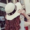 Mujeres del verano del sombrero de ala ancha de paja sombreros impresión de la letra nueva york 2015 de playa para mujer de bodas sombreros casquillo del jazz