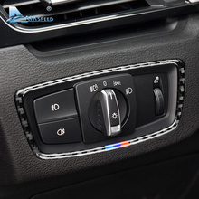 Airspeed for BMW F48 X1 Accessories 2016-2018 Real Carbon Fiber Headlight Switch Cover Trim Car Interior Stickers Car Styling