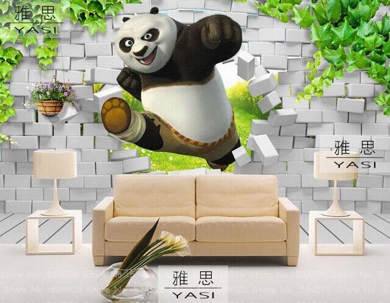 Panda 3d Wallpaper For Kids Room Fresco Papel De Parede Tapete Infantil Wallpaper Border Background Homedecoration Wallcovering Wallpaper Metal 3d Image Wallpaper3d Optical Mouse Usb Aliexpress