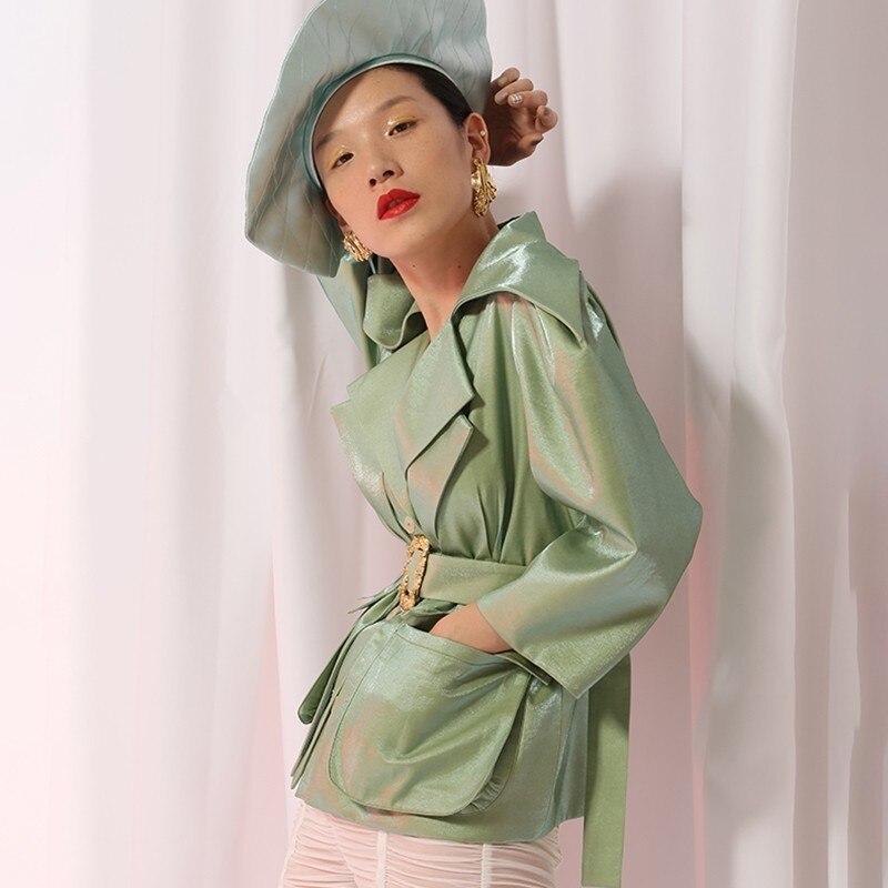 Manteaux Vêtements Lace cream Bouffantes Angleterre Automne Mode Green Up Tops Q655 Manteau White Coat Vintage Femmes 2018 Veste Nouvelle Manches Style Coat Femme fp0cqwxFSF