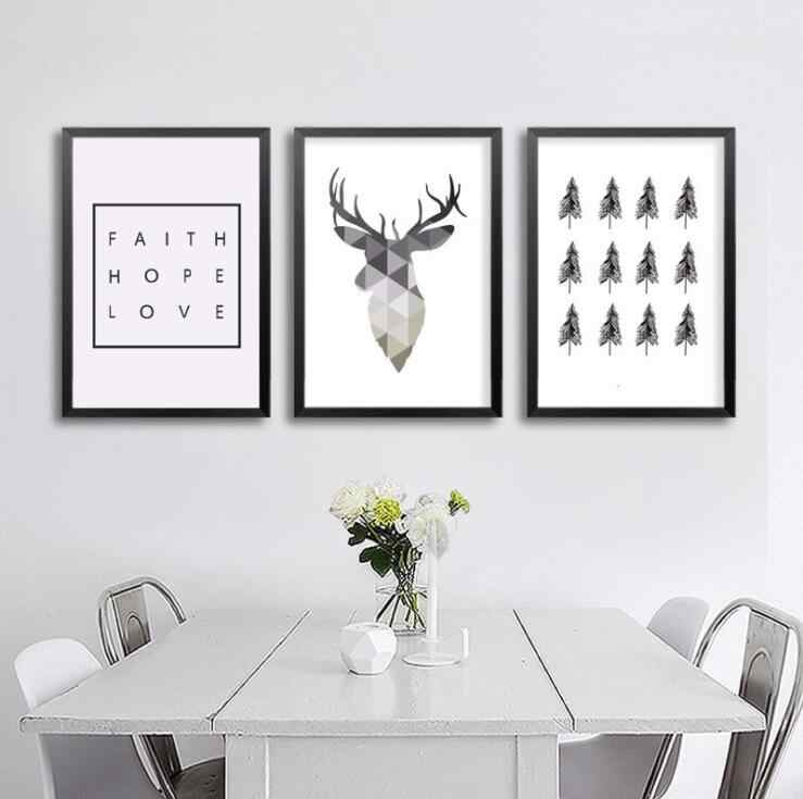 Geometric Deer Tree letter Faith Quote Canvas Painting Nordic Poster Wall Art Prints Scandinavian Decoration Pictures Living Roo