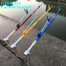 Suporte de vara de pesca de fibra de carbono, forte, ajustável, telescópica, para pesca, suporte de 1.7m, 2.1m, 2.4m