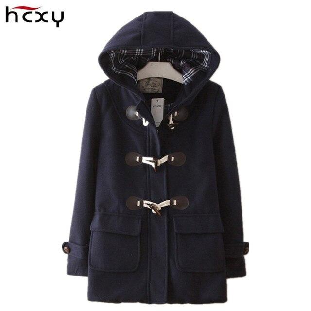HCXY 2016 Осень и Зима Рог кнопку Японский капюшоном женщин сгущать теплый одежда Подросток студент девушки шерстяное пальто пальто