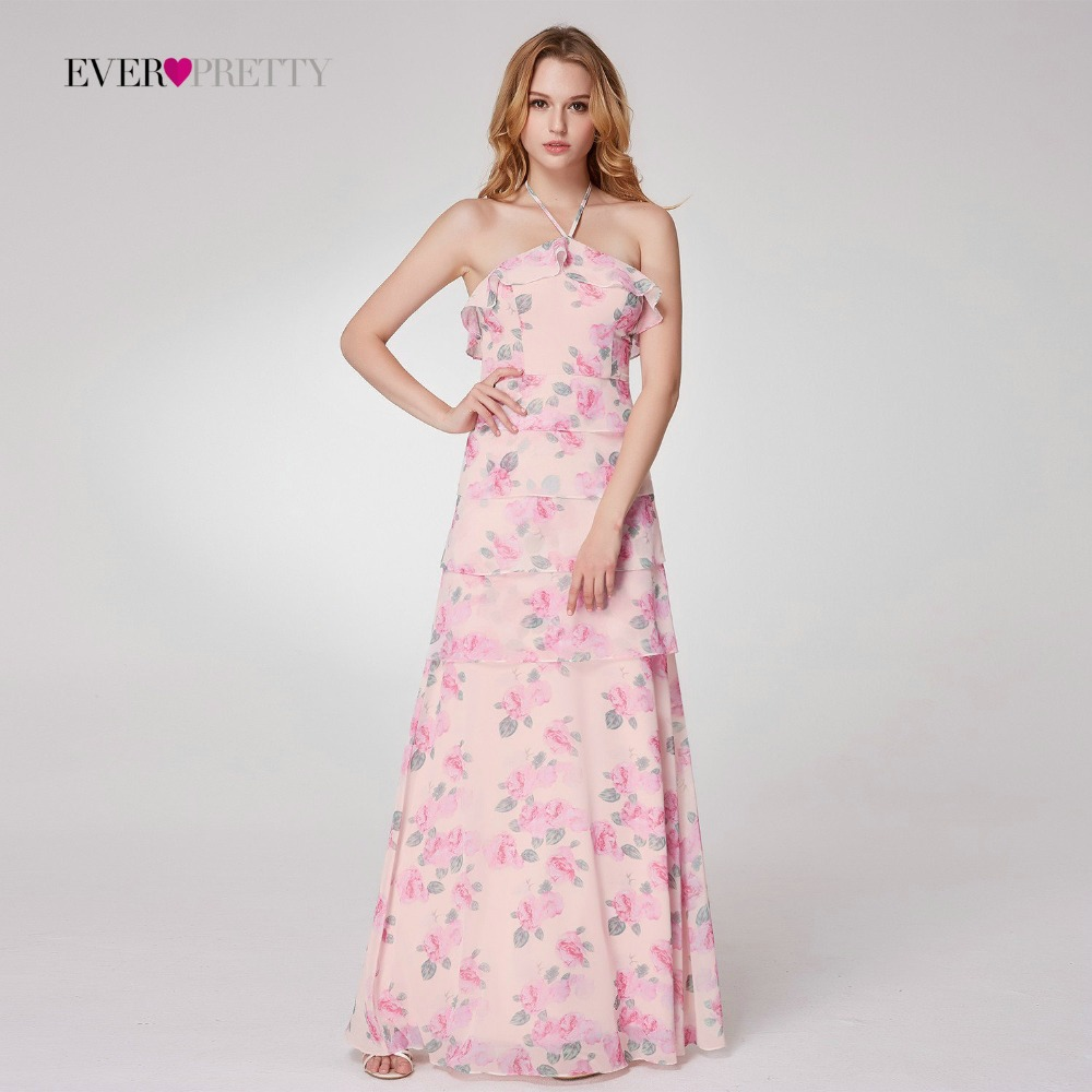 2018 Cheap Bridesmaid Dresses under 50 Ever Pretty EP07239 Halter A line  Long Chiffon Printed Beach Party Gowns vestido de gala -in Bridesmaid  Dresses from ... d780dd11b7eb
