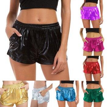Pantalones cortos metálicos brillantes para mujer 2019 verano holográfica Wet Look Casual elástico cordón para fiesta rave Booty Shorts # sw