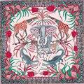 "New Woman's Silk Scarf 35"" 90cm Kerchief the Zambezi River Elephant Pattern Fashion Hot Sale Silk Twill Hemming Shawl SP168294"